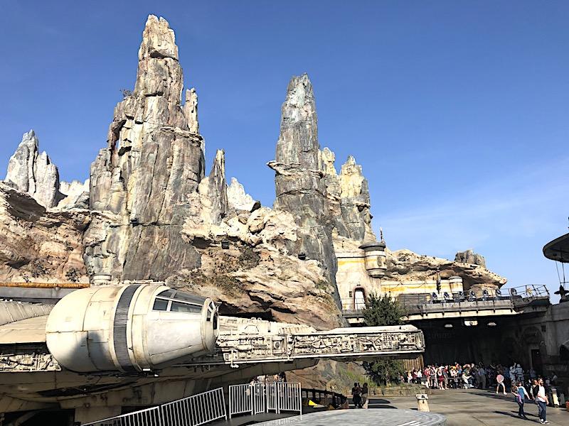 The Millennium Falcon in Black Spire Outpost, Galaxy's Edge in Disneyland