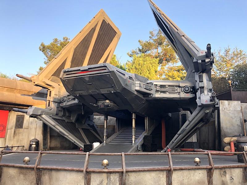 A TIE Echelon fighter in Black Spire Outpost, Galaxy's Edge in Disneyland